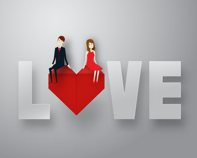 Happy valentine day 3d layer paper art style with smart guy and text vector illustration