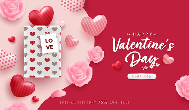 Happy valentine day background or banner with lovely elements.