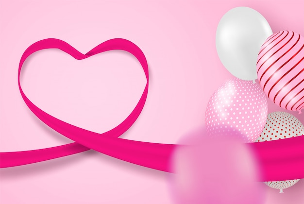 Happy valentine day background .design with balloons  on pink background.