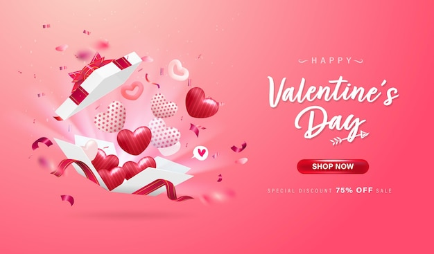 Happy valentine day background or love banner with lovely heart, ribbons, confetti. cute elements.