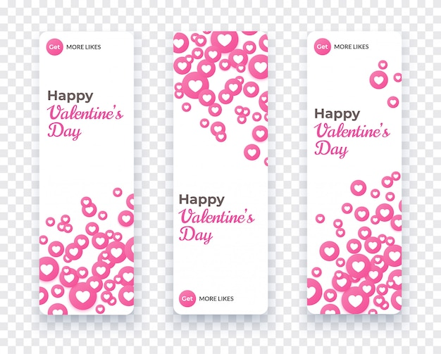 Happy valentine day banner set, vertical card template with floating pink heart icons for love coupon, gift voucher, invitation. vector holiday illustration with heart confetti.