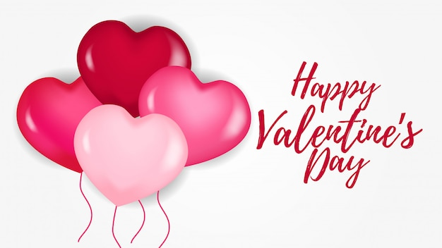 Happy valentine day banner with pink hearth balloon
