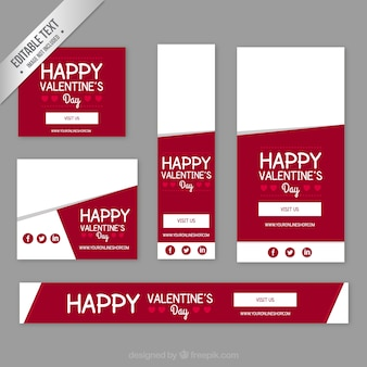Happy valentine day banners