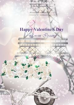 Happy valentine day card with eiffel tower