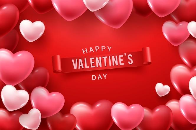 赤とピンクの3dハートの形で幸せなバレンタインデーおめでとうございます