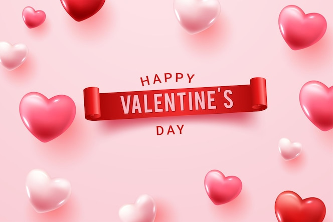 Felice giorno di san valentino congratulazioni con forme di cuore 3d rosso e rosa
