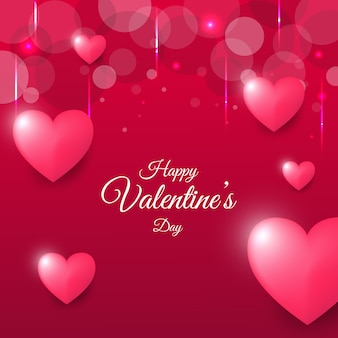 Happy valentine day greeting card with bokeh background