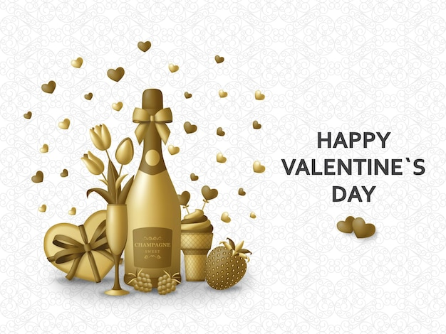Happy valentine day greeting card with champagne, gift, flowers and berries.