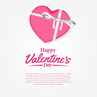 Happy valentine day greeting card with gift box