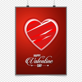 Happy valentine day heart poster template