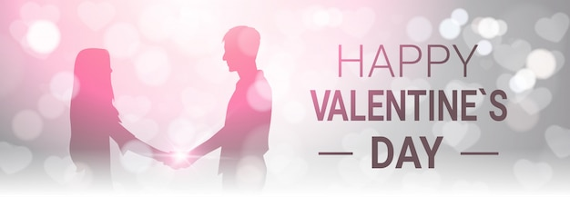 Happy valentine day horizontal banner decoration silhouette couple hold hands over bokeh glowing