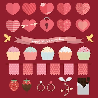 Happy valentine day icon set illustration