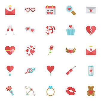 Happy valentine day icon set isolated.