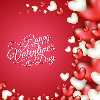 リアルなハートの形で幸せなバレンタインデーのイラストデザイン