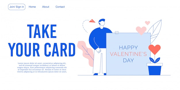 Happy valentine day invitation landing page design
