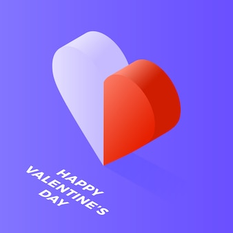Happy valentine day isometric heart made of two halves, white and red, on blue
