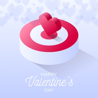 Happy valentine day isometric heart standing on bigger target. on light background.