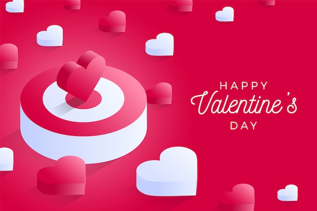 Happy valentine day isometric heart standing on bigger target on pink background.
