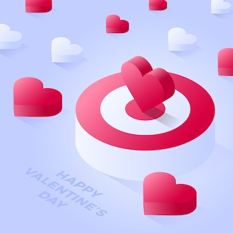 Happy valentine day isometric heart standing on bigger target. red target or podium vector icon. isometric red podium vector icons for web   on light background.