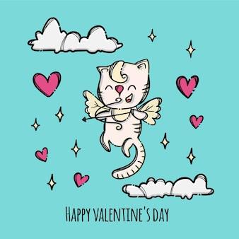幸せなバレンタインデーの子猫のキューピッドは、空を飛んでいる弓を撃ちます空を飛んでいるハートに囲まれています手描きの漫画の動物