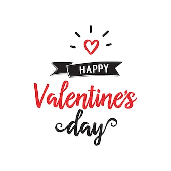 Happy valentine day lettering and heart