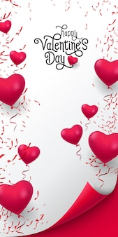 Happy valentine day lettering. inscription with balloons