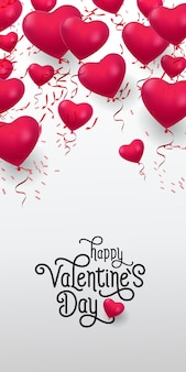 Happy valentine day lettering. inscription with heap of balloons