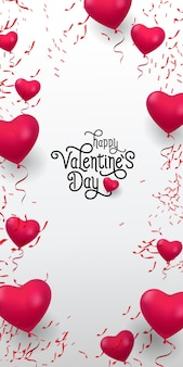 Happy valentine day lettering. inscription with red balloons