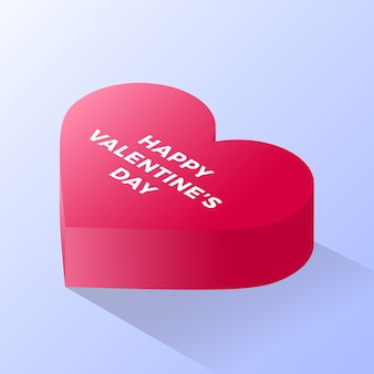 Happy valentine day red love heart icon. isometric of red love heart vector icon