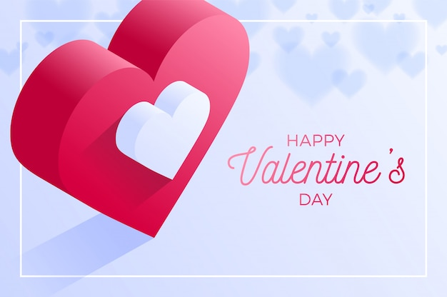 Happy valentine day red love heart icon. isometric of red love heart .