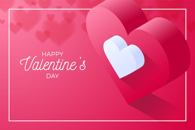 Happy valentine day red love heart. isometric of red love heart vector