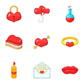 Happy valentine day set, мультяшном стиле