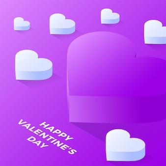 Happy valentine day violet love heart icon. isometric of purple love heart