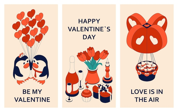Happy valentine day with cute isometric elements. greeting card and love template