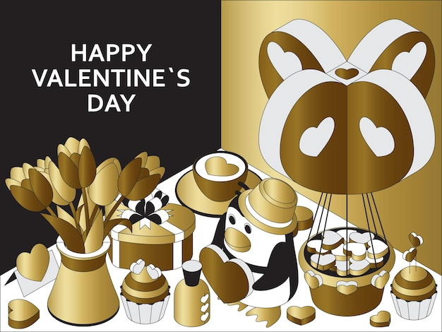 Happy valentine day with cute isometric elements. greeting card