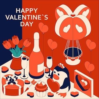 かわいいアイソメトリック要素で幸せなバレンタインデー。グリーティングカード