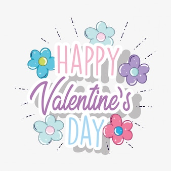 Happy valentine day with flowers decoration