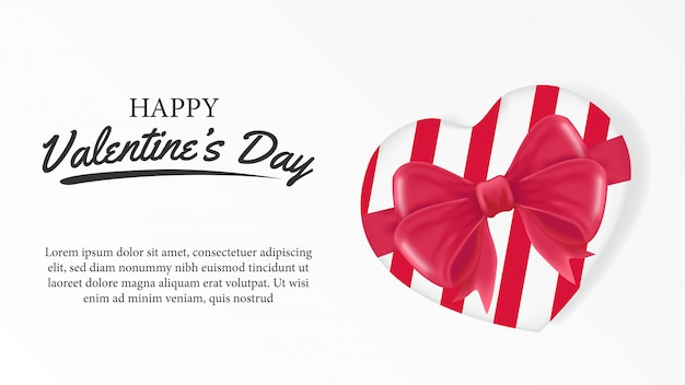 Happy valentine day with gift box hearth