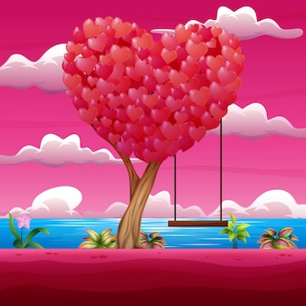 Happy valentine day with heart tree and swing