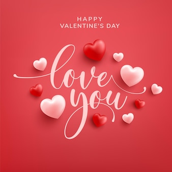 Happy valentine greeting card with love word hand drawn lettering and calligraphy with red and pink heart on red