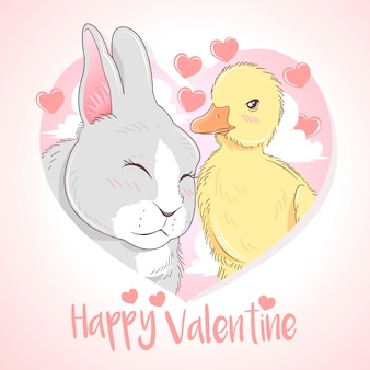 Happy valentine rabbit and duck