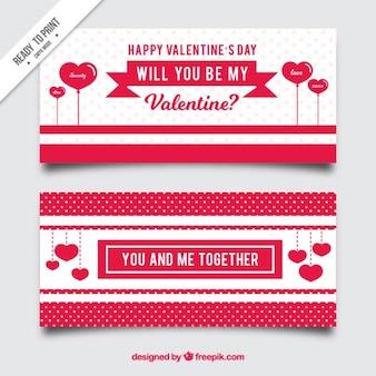 사랑 문구와 함께 해피 발렌타인 배너 무료 벡터
