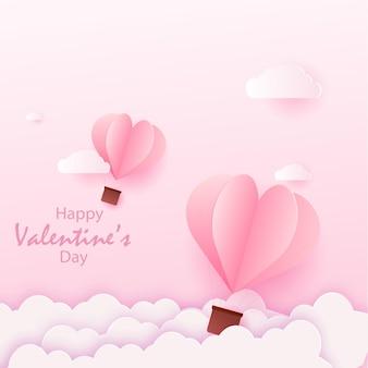 Счастливая карточка валентинки с летающими воздушными шарами розового сердца.