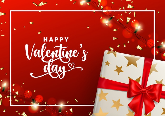 Happy valentine's day 2020 red and golden greeting card.
