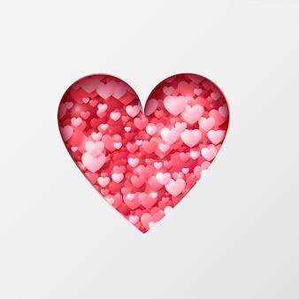 幸せなバレンタインデー。色とりどりのハートがたくさん入ったハート。お祭りの装飾要素。