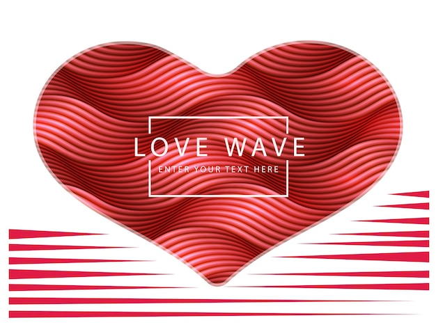 Happy valentine's day abstract retro red heart shape wave line.