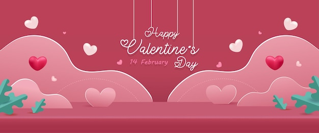 Happy valentine's day background. love scene studio product display in pink with cute elements.