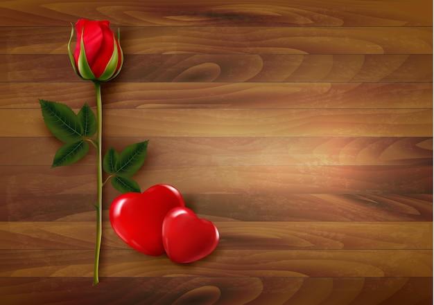 幸せなバレンタインデーの背景。 2つの心を持つバラ。ベクター。