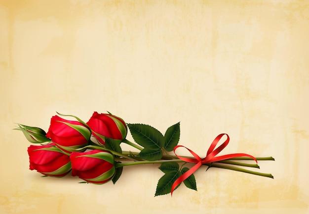 С днем святого валентина фон. одиночные красные розы на фоне старой бумаги. вектор.