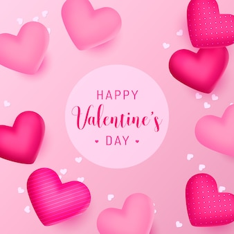 Happy valentine's day background with beautiful realistic hearts